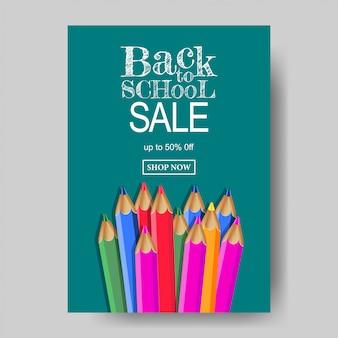 Powrót do szkoły plakat sprzedaż z kolorem ołówka