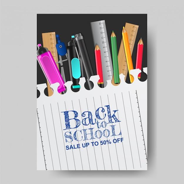 Powrót do szkoły plakat szablon sprzedaży