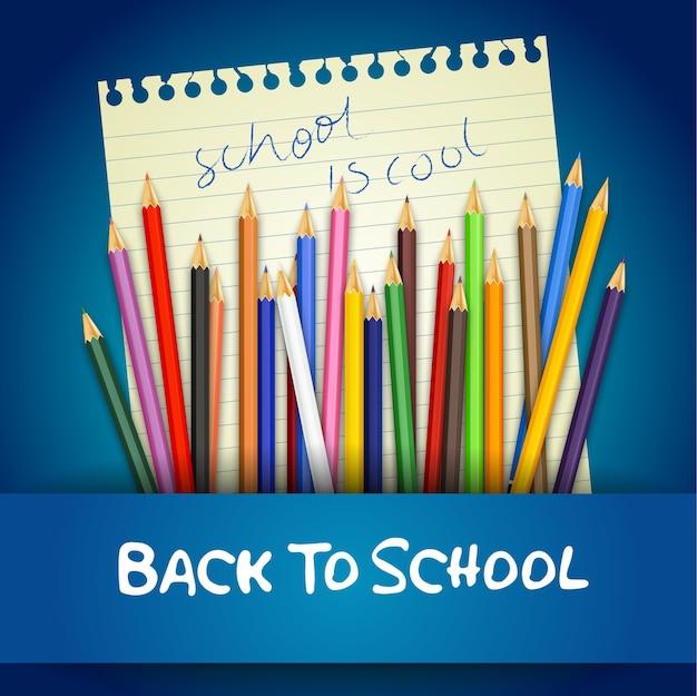 Powrót do szkoły plakat z kolorowymi kredkami na zeszycie