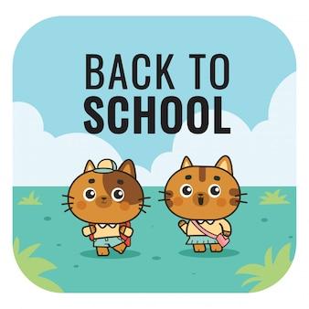 Powrót do szkoły płaski ilustracja ładny kot