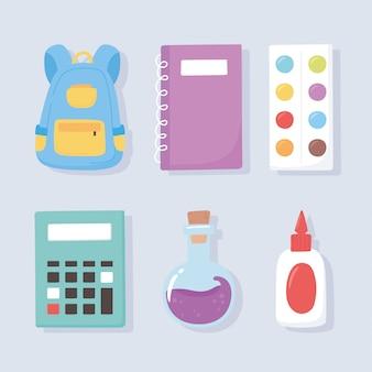 Powrót do szkoły, plecak paleta kolorów kalkulator kleju notatnik chemia kolba ikony edukacja kreskówka