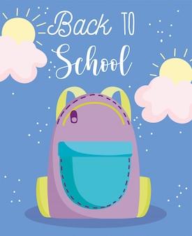 Powrót do szkoły, plecak z zamkiem błyskawicznym kreskówka edukacja podstawowa