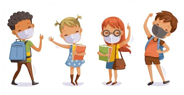 Powrót do szkoły po nową normalną koncepcję covid-19. dzieci noszące maski sanitarne. gest związany z koronawirusem studentów.