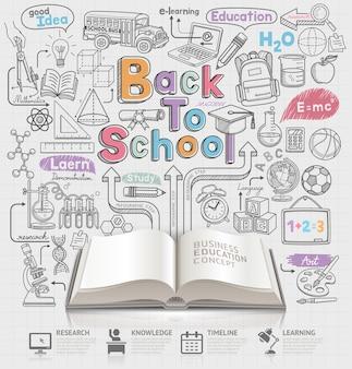 Powrót do szkoły pomysł doodles ilustracji i otwórz książkę.