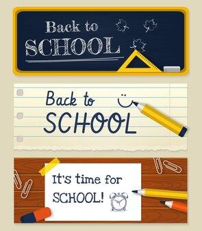 Powrót do szkoły poziome banery z papeterią.