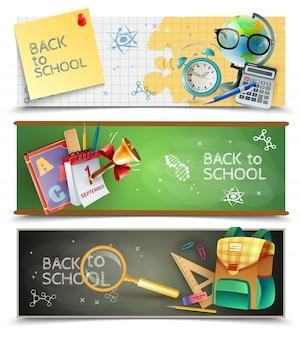 Powrót do szkoły poziome banery zestaw
