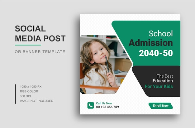 Powrót do szkoły projekt szablonu postu w mediach społecznościowych i baner internetowy