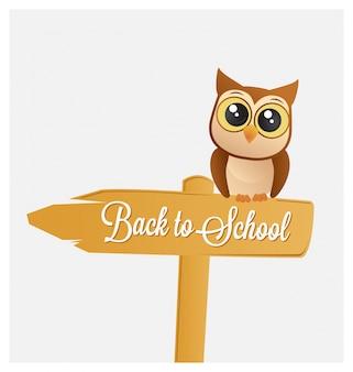 Powrót do szkoły projektowania z cute sowa na znak