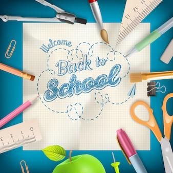 Powrót do szkoły - przybory szkolne na niebiesko z copyspace.