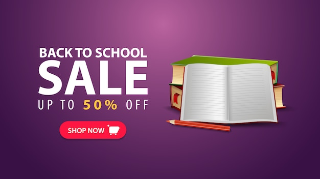 Powrót do szkoły, rabatowy baner internetowy w minimalistycznym stylu z podręcznikami szkolnymi