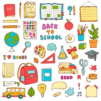 Powrót do szkoły ręcznie rysowane doodle zestaw