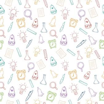 Powrót do szkoły ręcznie rysowane kolorowy wzór z narzędziami szkolnymi.