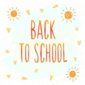Powrót do szkoły. ręcznie rysowane napisy i elementy doodle do karty projektowej, plakat szkolny, dziecinna koszulka, jesienny baner, notatnik, album, tapeta szkolna itp