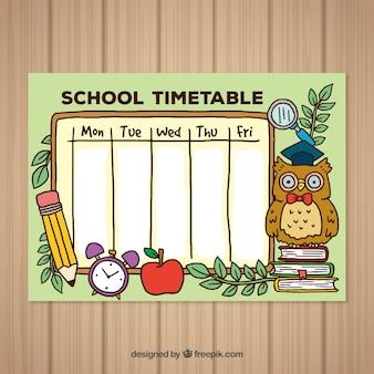 Powrót do szkoły ręcznie rysowane szablon harmonogramu