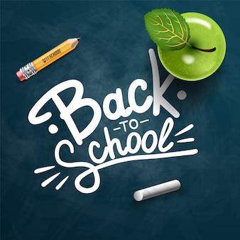 Powrót do szkoły rysowanie tekstem kolorową kredą w tablicy z przedmiotów i elementów szkolnych. banner ilustracji.