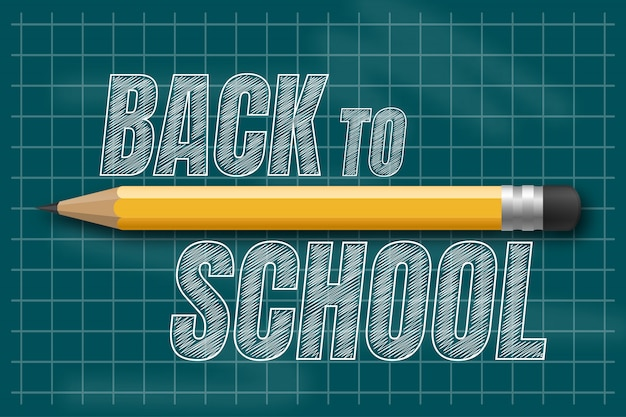 Powrót do szkoły rysowanie tekstu białą kredą na tablicy z przedmiotami i elementami szkolnymi.