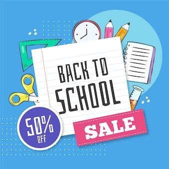 Powrót do szkoły rysunek sprzedaży