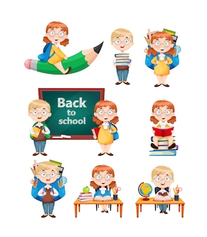 Powrót do szkoły. śliczna uczennica i uczeń