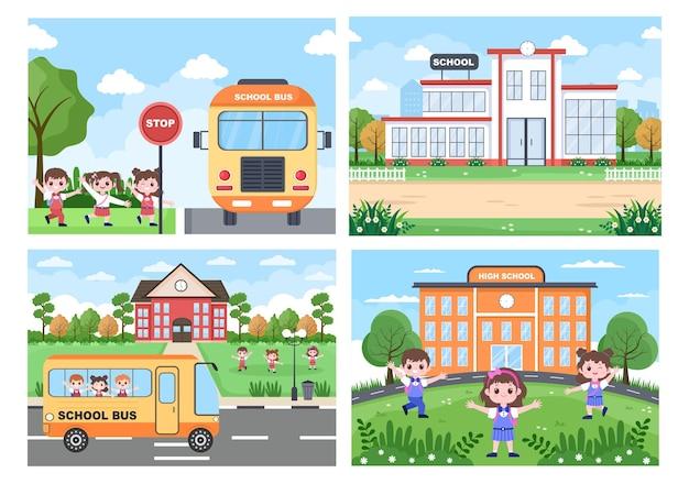 Powrót do szkoły, słodki autobus i niektóre dzieci bawią się na podwórku przed domem ilustracja