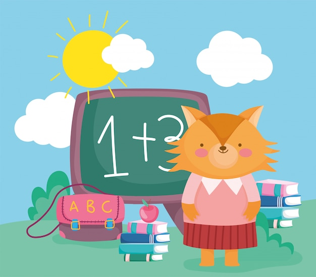Powrót do szkoły słodki nauczyciel lisa z książkami tablica torba edukacji
