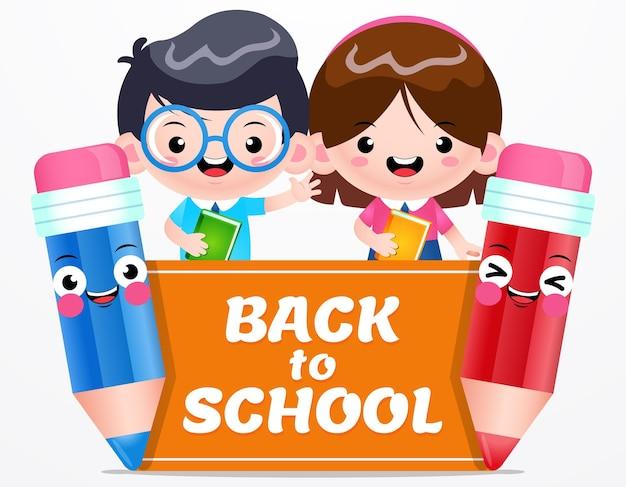 Powrót do szkoły słodki uczeń z ołówkami