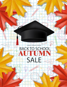 Powrót do szkoły sprzedaż banner na zniżki i oferty