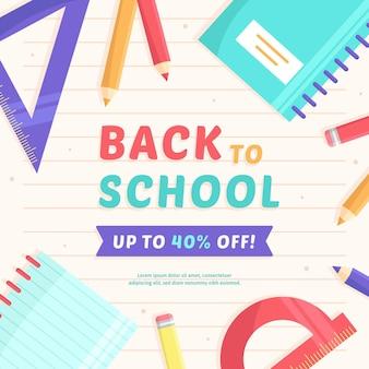 Powrót do szkoły sprzedaż kwadratowy baner