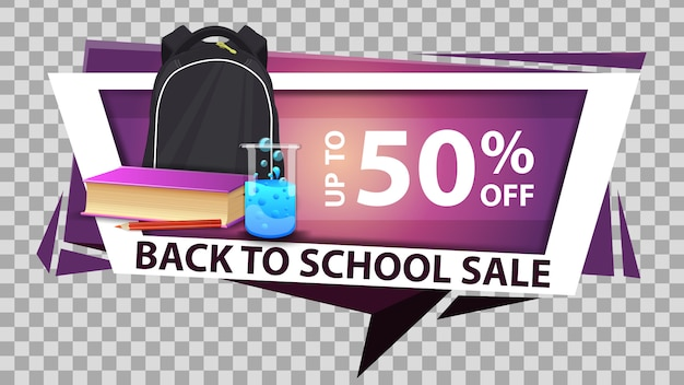 Powrót do szkoły sprzedaży internetowej baner zniżki w geometrycznym stylu z plecakiem szkolnym