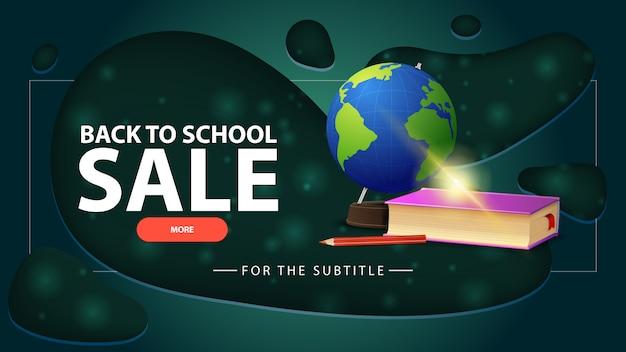 Powrót do szkoły sprzedaży, niebieski transparent ze zniżkami ze świata i podręczników szkolnych