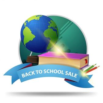 Powrót do szkoły sprzedaży, okrągły rabat baner klikalny ze wstążką