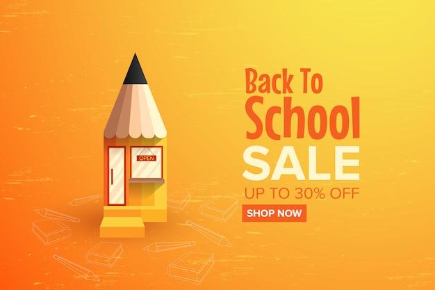Powrót do szkoły sprzedaży promocyjnej szablon transparent