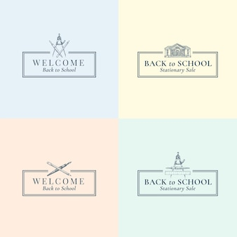 Powrót do szkoły stacjonarne wektor znaki, symbole lub zestaw szablonów logo. szkice budynku szkolnego, pióra, kompasu i ołówka z typografią retro i ramkami. sezonowe emblematy edukacyjne. odosobniony.