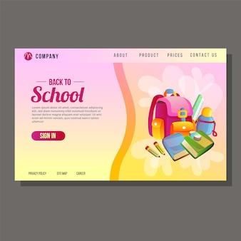 Powrót do szkoły strony docelowej edukacji różowe tło