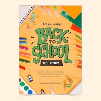 Powrót do szkoły szablon plakatu pionowego ze zdjęciem