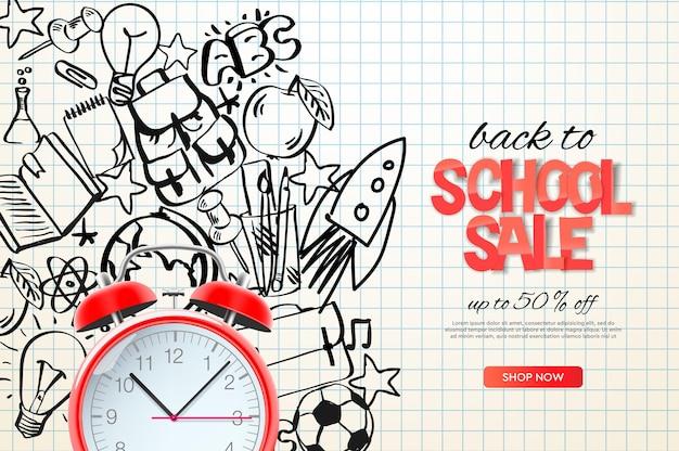 Powrót do szkoły szablon sprzedaży realistyczny czerwony budzik na zarysie doodle tło wektor obrazu