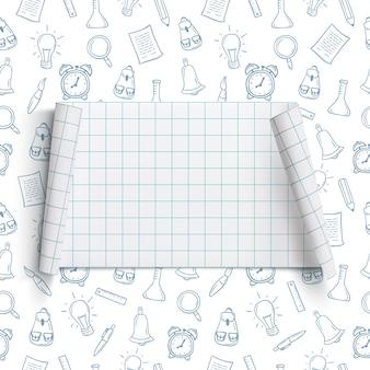 Powrót do szkoły szablon tła pusty, zakrzywiony baner, na tle z ręcznie rysowanymi narzędziami szkolnymi.