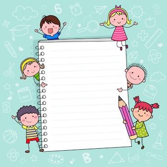 Powrót do szkoły szablon tła z notatnikiem i dziećmi
