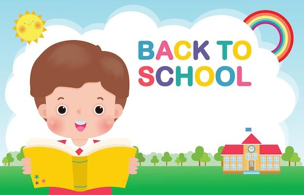 Powrót do szkoły szablon transparentu dzieci czytające książkę koncepcja edukacji dla broszur reklamowych advertising