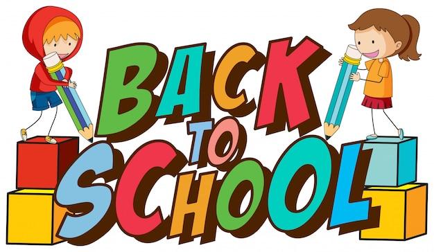 Powrót do szkoły szablon z dziećmi