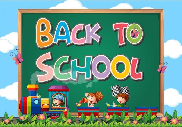 Powrót do szkoły szablon ze znakiem