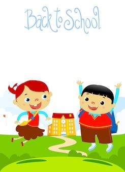 Powrót do szkoły szczęśliwy projekt płaski ilustracja dzieci