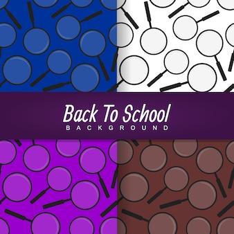 Powrót do szkoły szkło powiększające wzór