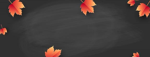 Powrót do szkoły - tablica z jesiennymi liśćmi. szablon na baner. wektor