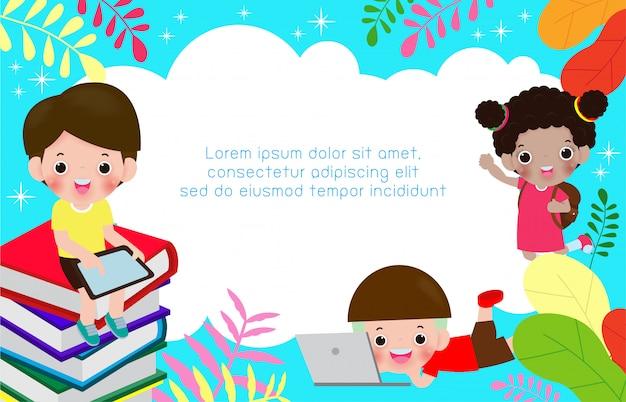 Powrót do szkoły, tekst dzieci i rama ilustracja