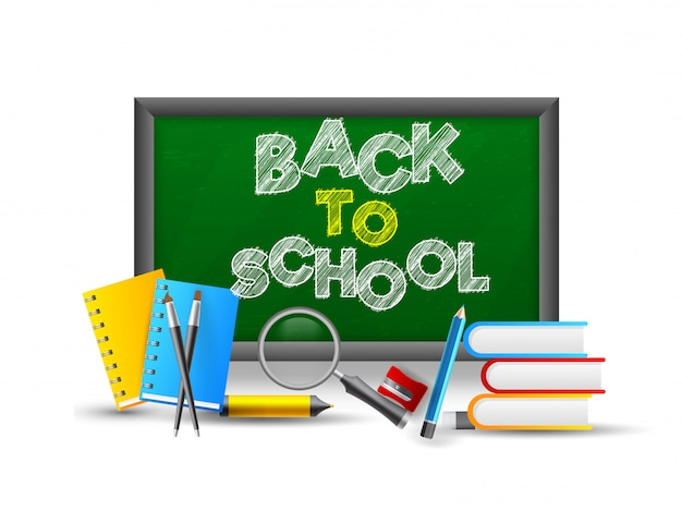Powrót do szkoły tekst na tablicy z elementem przyborów szkolnych