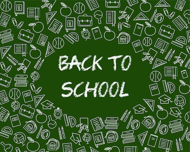Powrót do szkoły tekst rysowania kredą na tablicy z elementami szkolnymi i elementami.