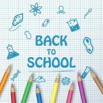 Powrót do szkoły tekst rysunek na papierze wykres z przedmiotów szkolnych i elementy i ołówek kolor
