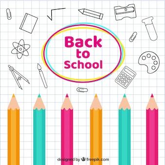 Powrót do szkoły tła z elementami i kolorowe kredki