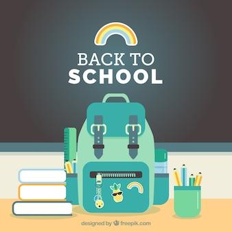Powrót do szkoły tła z elementami