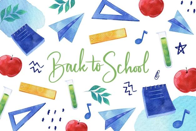 Powrót do szkoły tle akwarela
